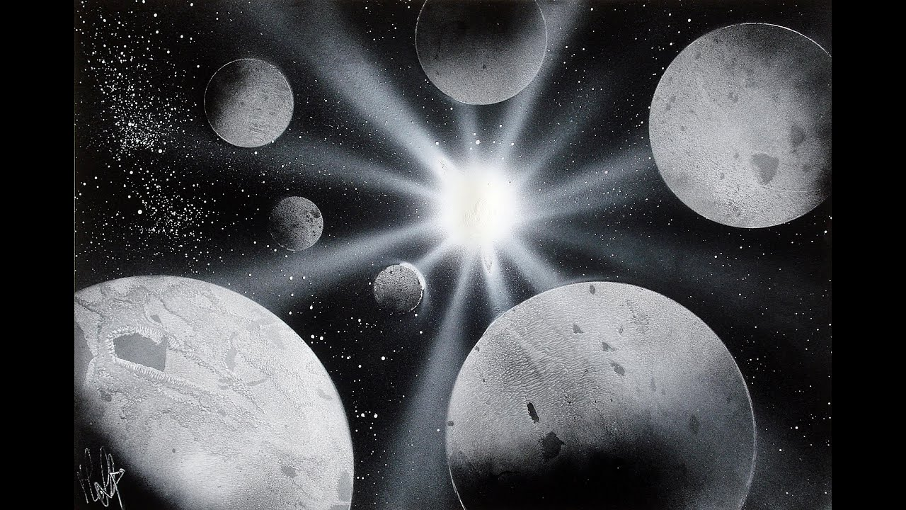 How to Spray Paint Art Planets Black and White - Tutorial ...