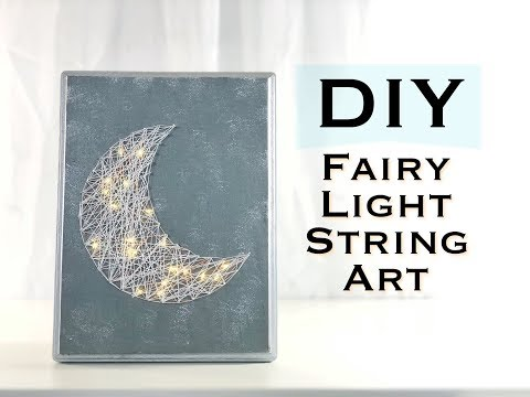 DIY MOON STRING ART *WITH FAIRY LIGHTS*