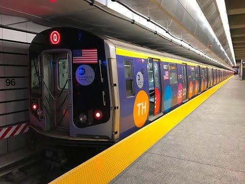 NYC Subway HD 60fps: R160B Q Train RFW (Cab Window) Round Trip Rides on Second Avenue Subway