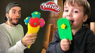 SORVETE DE MASSINHA PLAY DOH!! Picolé Playdough Ice Cream Popsicle - Playset Toys for Kids