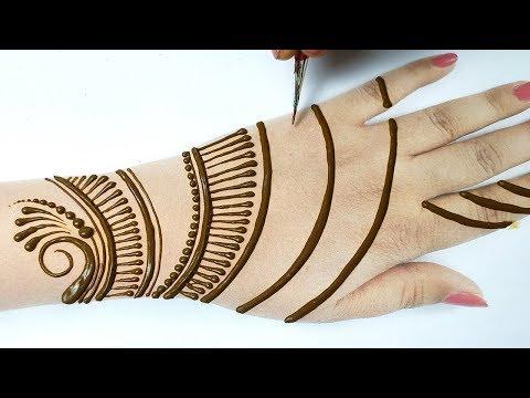 आसान मेहँदी डिज़ाइन लगाना सीखे - Easy Stylish Mehndi Design Trick step by Step - Line Mehndi tricks