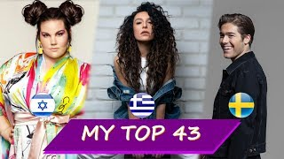 Eurovision 2018 - My final top 43 |Gianna Terzi, Eleni Foureira, Netta, Benjamin Ingrosso, Mélovin