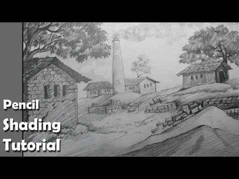How to Draw a Village Scenery with Pencil | Brick kiln | Epi