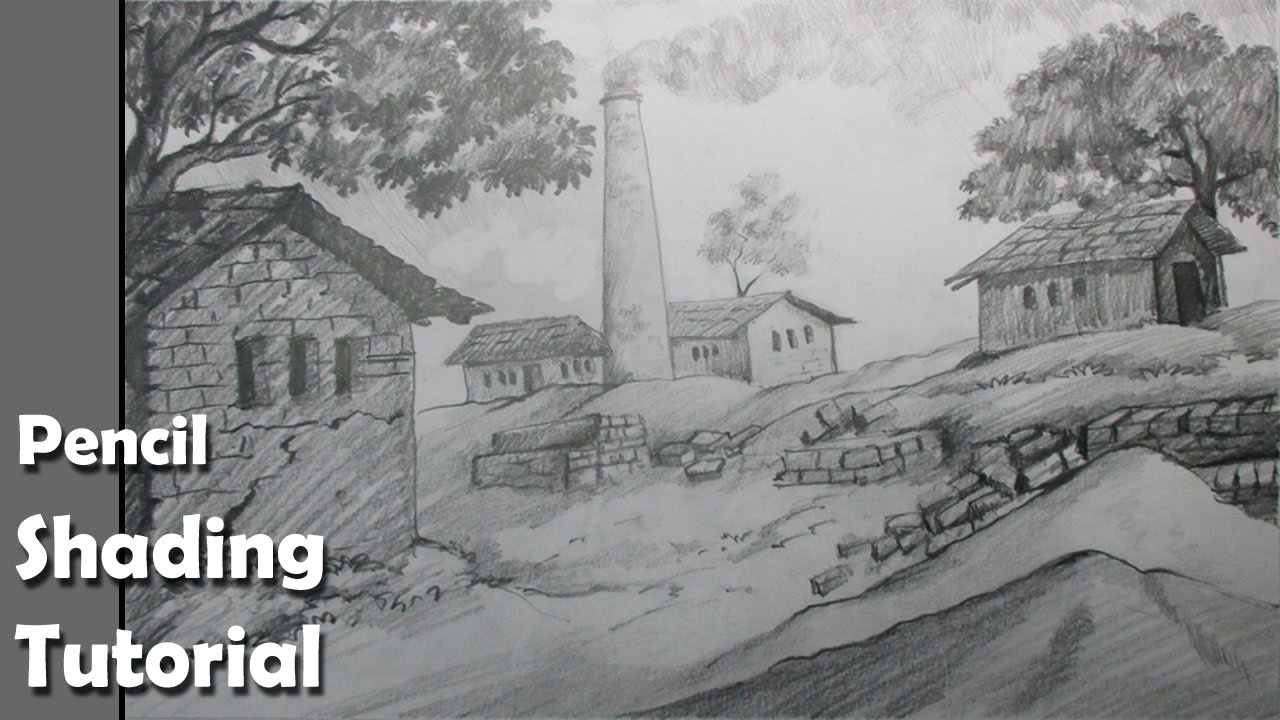 Line Drawing With Shading : How to draw a village scenery with pencil brick kiln epi