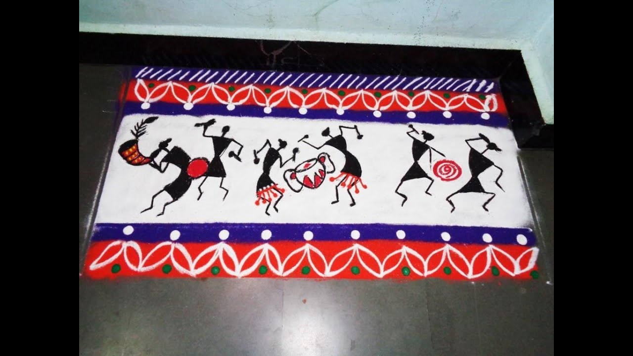 ... warli art in rangoli border design created by latest rangoli - YouTube