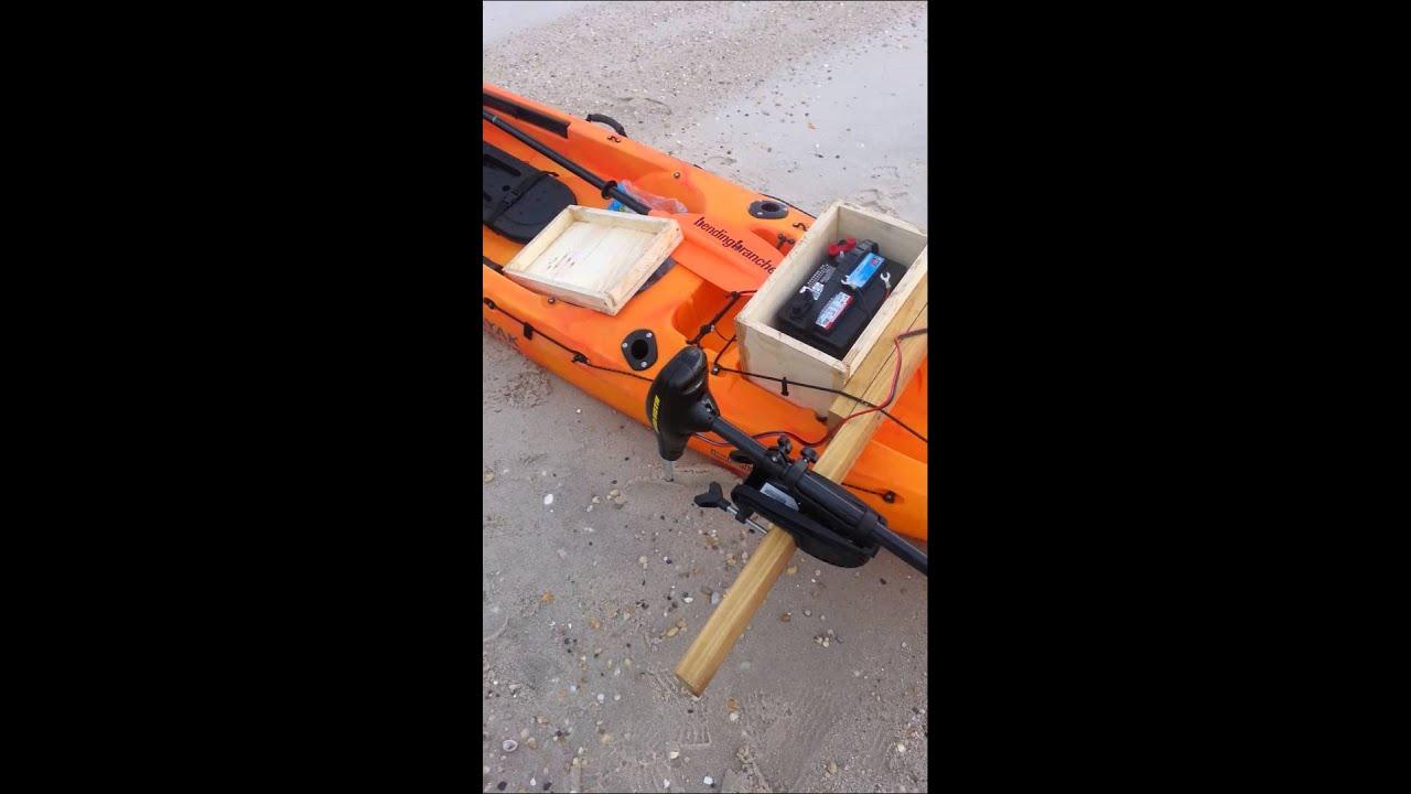 Kayak Battery Box and 30 lb thrust minn kota - YouTube