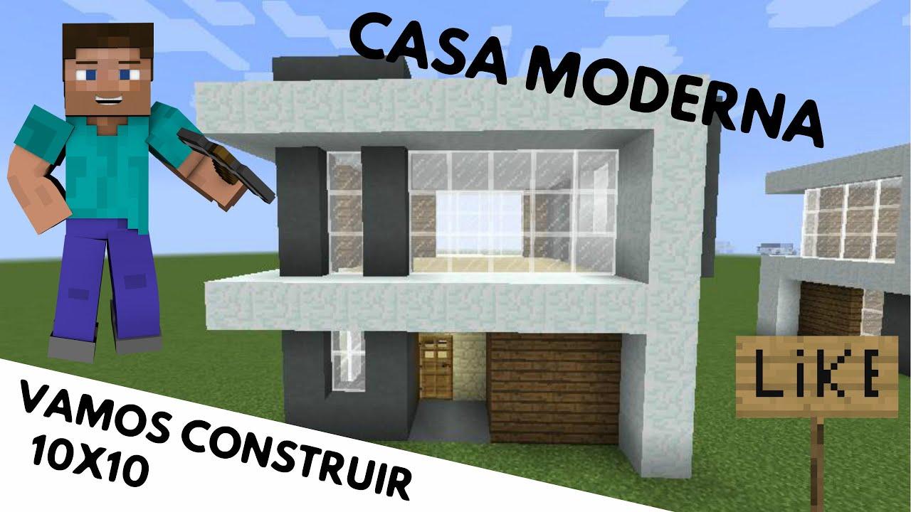 minecraft como fazer uma casa moderna 10x10 youtube