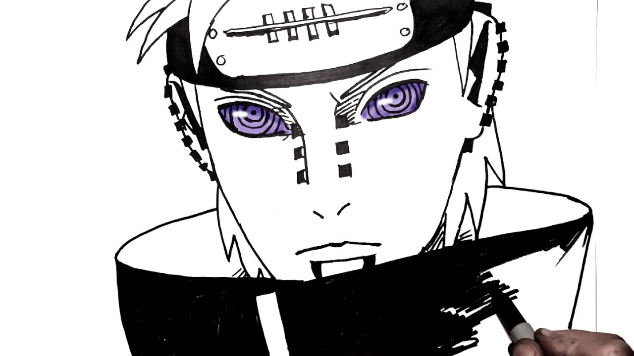 How to draw pain step by step naruto