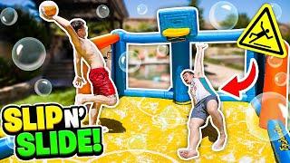 INSANE Slip n Slide Basketball Challenge! (DANGEROUS)