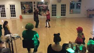 Ms Dallman dancing W/C Swing with Nikolay at Halloween party 2017