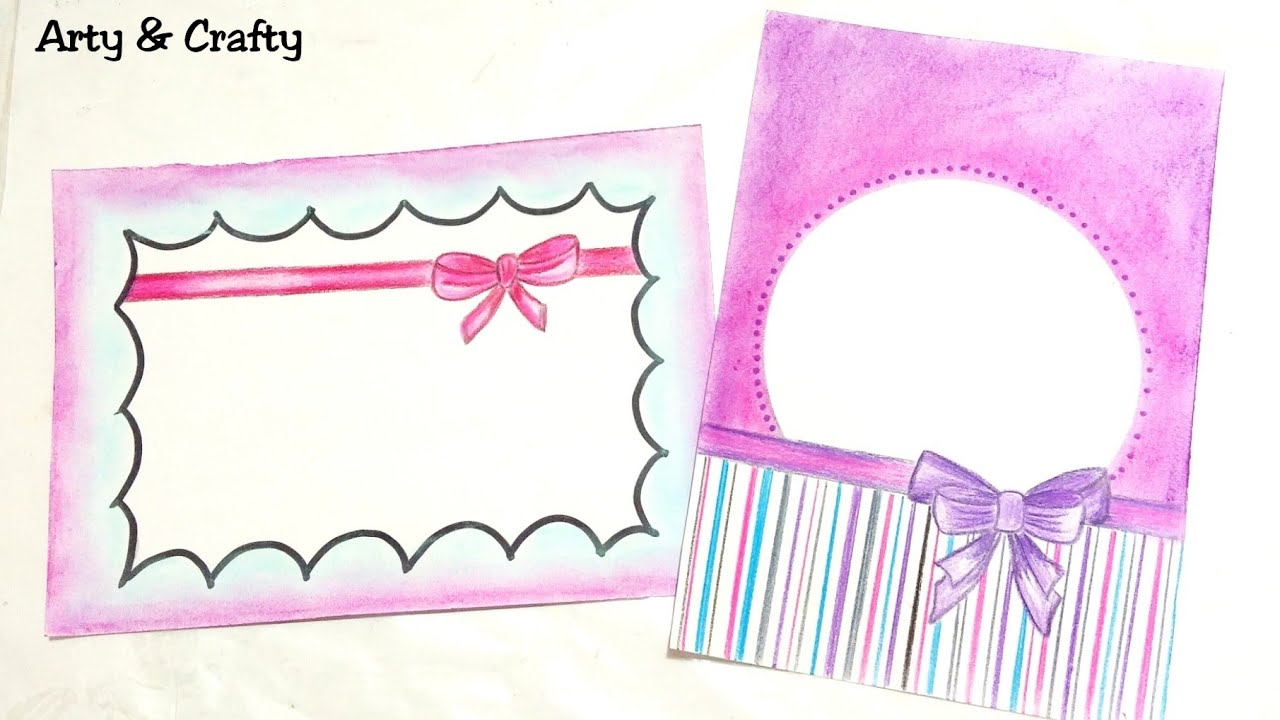 Ribbon Draw Easy Border Design On Paper Designs For Front Page Or Project By Arty Crafty
