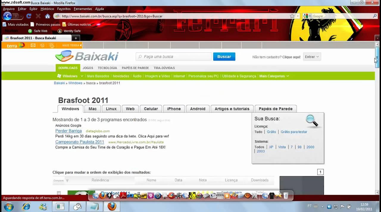 brasfoot 2011 com registro gratis no baixaki