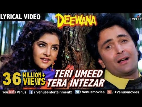 Teri Umeed Tera Intezar - LYRICAL VIDEO | Deewana | Rishi Kapoor, Divya Bharti | 90's Romantic Song