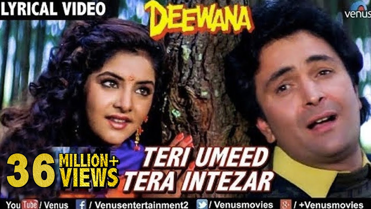 Teri Umeed Tera Intezar - LYRICAL VIDEO | Deewana | Rishi Kapoor, Divya Bharti | 90's Romantic