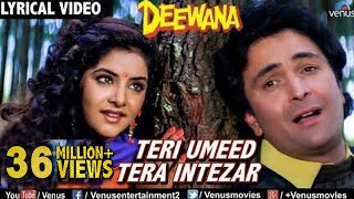 Teri Umeed Tera Intezar - LYRICAL VIDEO | Deewana | Rishi Kapoor, Divya Bharti | 90's Romantic Song.mp3