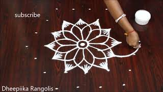 Diwali festival rangoli kolam designs || Deepavali || 7 dots Diwali muggulu
