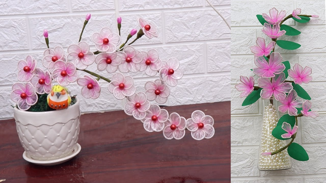 Simple way to arrange and make flowers from plastic bags