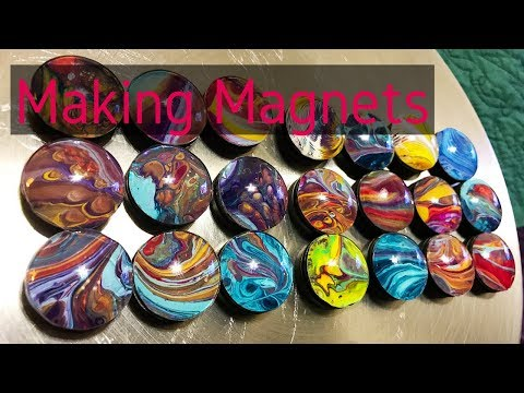 Fluid Art MAGNETS made with Acrylic Poured Skins