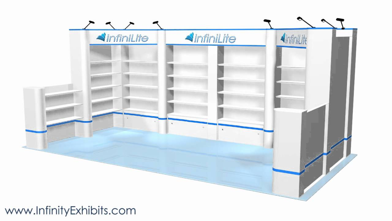 Trade Show Booth With Shelves : Ft multi section shelf trade show display with short