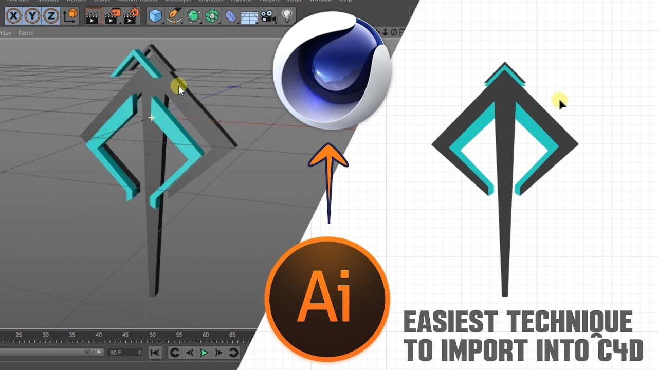 C4D Tutorial: EASIEST way to import illustrator file into cinema 4D