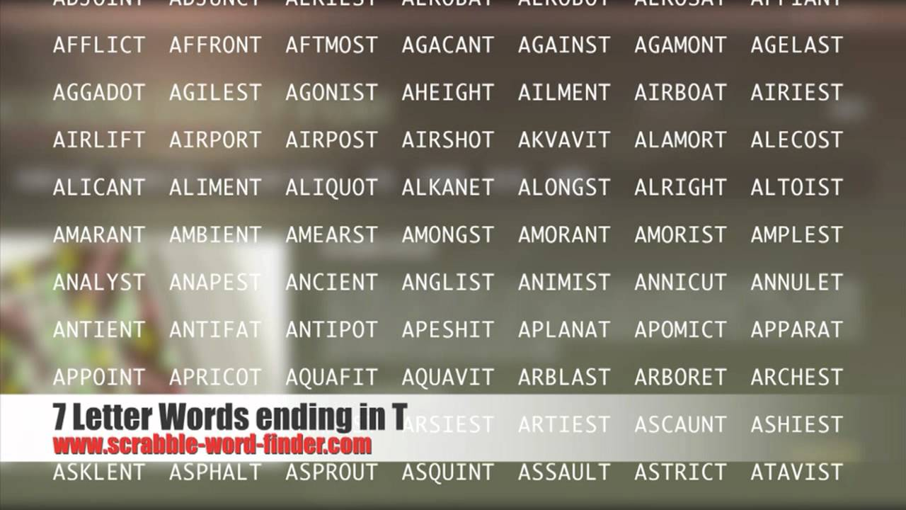 7 letter words ending in T   YouTube