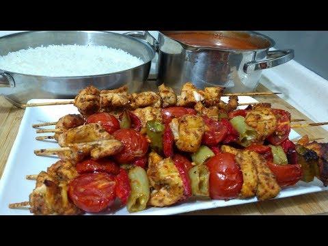 Enfes Tavuk Şiş İle Akşam Yemeği Menüsü/Tavuk Şiş/Pirinç Pilavı/Erişte/Sevel Mutfakta