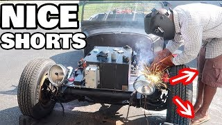 Welding an Electric Motorcycle to a car - The Idiots guide