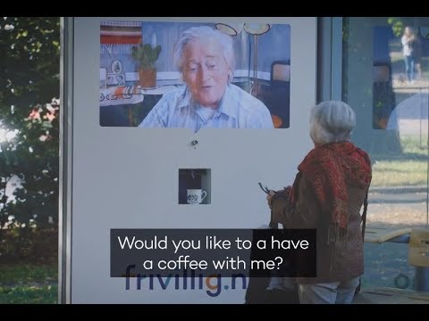 Frivillig.no live stream bus shelter invites for coffee and a chat  | JCDecaux Norway