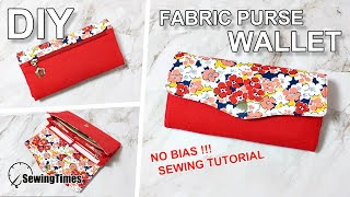 DIY FABRIC PURSE WALLET SEWING TUTORIAL | 지갑만들기 | no bias | zipper pocket | pattern [sewingtimes]