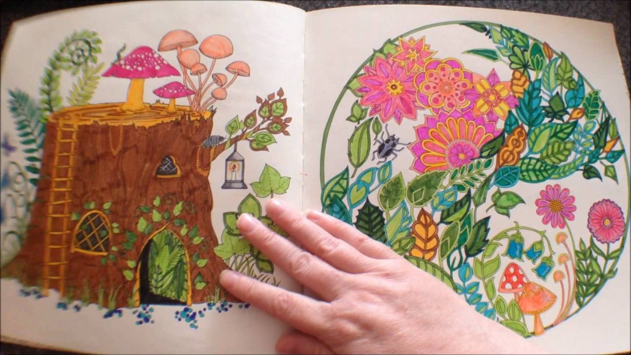The Enchanted Forest By Johanna Basford Colouring Book Flipthrough With Coloured Pictures