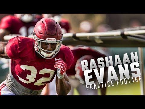 Alabama LB Rashaan Evans runs drills during fall practice Wednesday
