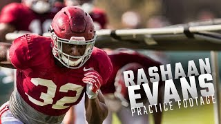 Alabama LB Rashaan Evans runs drills during fall practice Wednesday