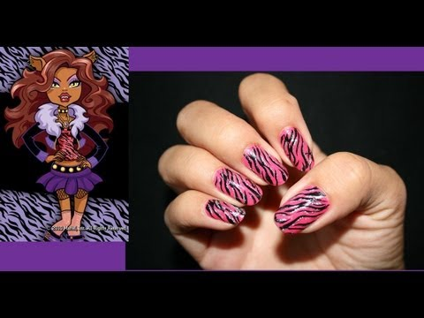 Clawdeen Wolf Monster High Inspired Nail Art Youtube