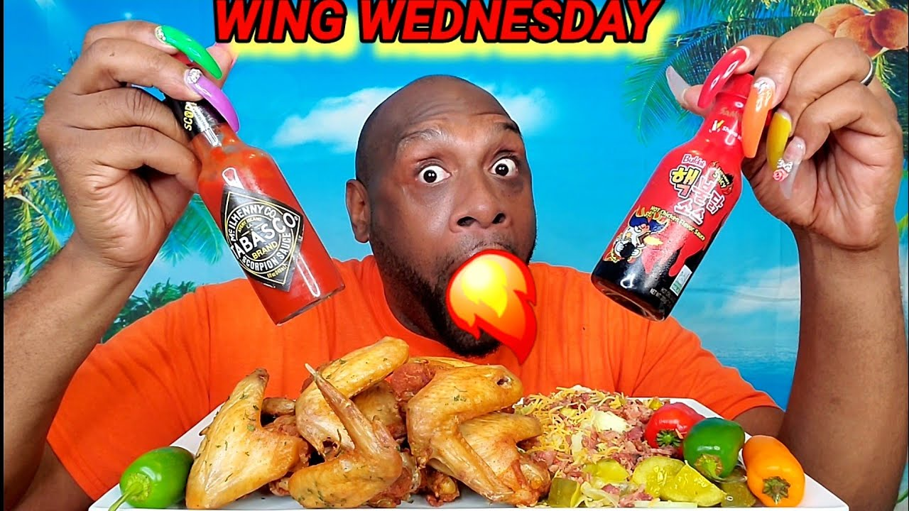 2X SPICY & SCORPION TABASCO, WHOLE CHICKEN WING MUKBANG 먹방 ... WING WEDNESDAY ... EATING SHOW 먹방 ...