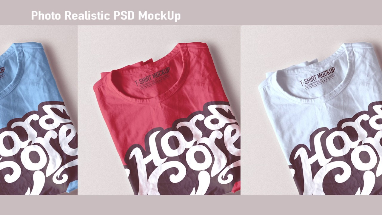 folded t shirt mock up photo realistic preview youtube