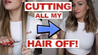 CUTTING ALL MY HAIR OFF WITH KITCHEN SCISSORS | Vlogmas Day 4
