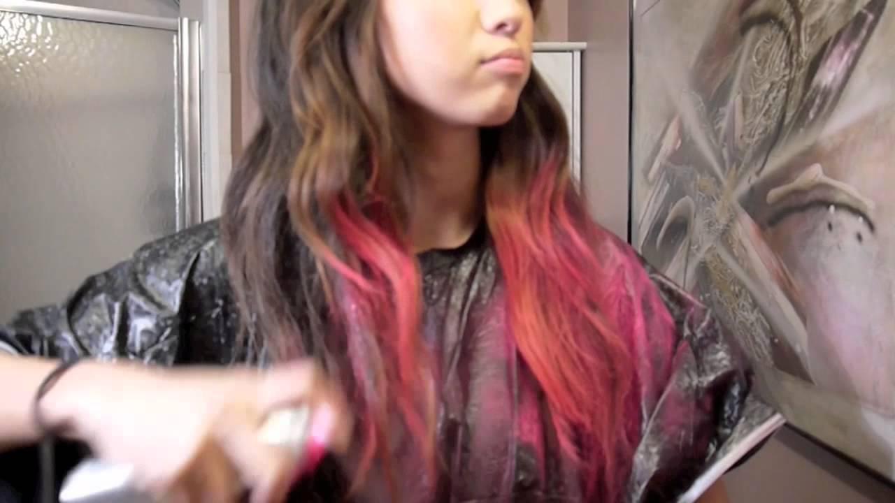 pink dip dye hair temporary color