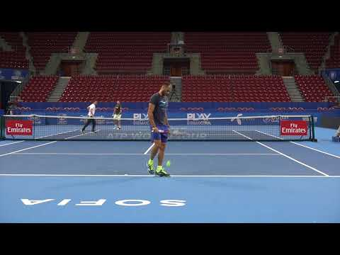 Marius Copil and Stanislav Wawrinka practice in Sofia 2018, Court Level View