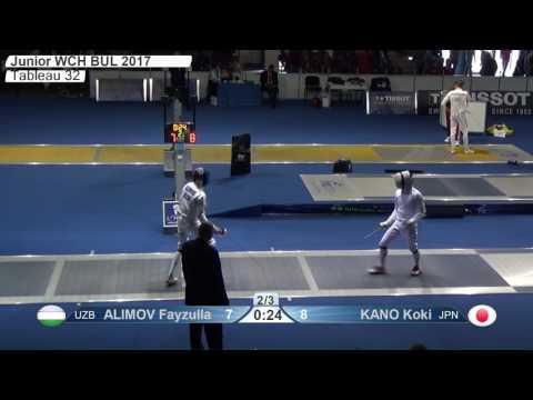 FE M E Individual Juniors Plovdiv BUL World Championships 2017 T32 12 blue ALIMOV UZB vs KANO JPN