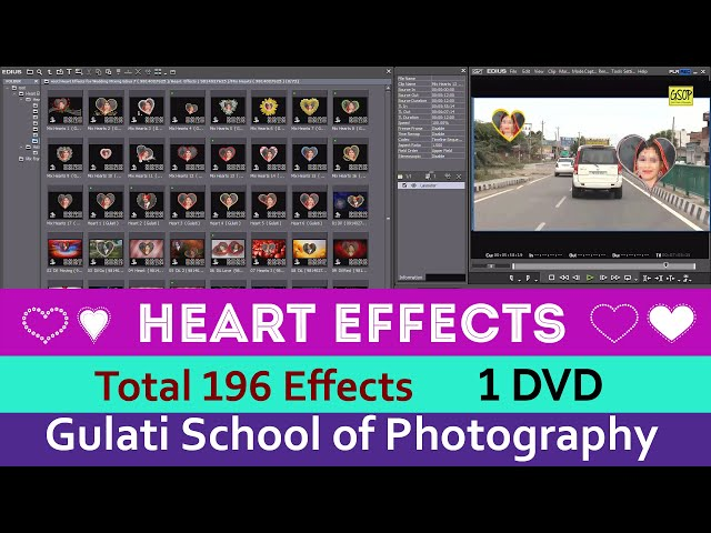 02 Heart Effects for Edius 7, 8  & 9 Software | Wedding Effects | Mask Effects |  (196 Effects )