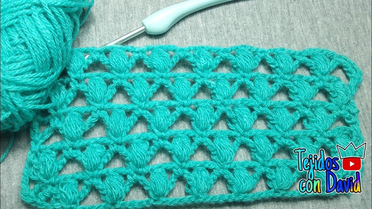 Punto puff calado en rombos a crochet paso a paso