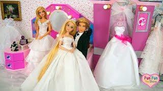 Princess Rapunzel Barbie Wedding Shop Shopping Gaun pengantin boneka Barbie Boneca Vestido De Noiva