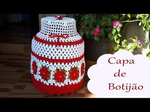 Capa de Botijão de CROCHÊ com Flores