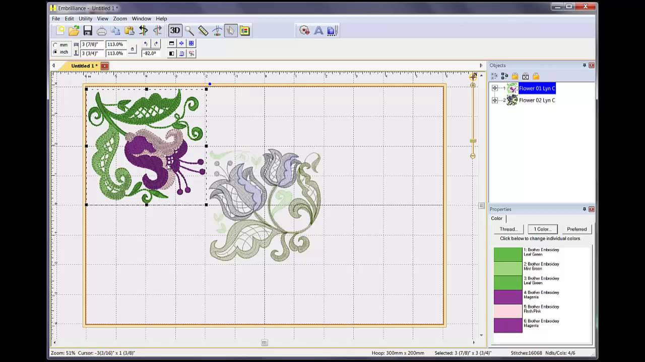 How to combine embroidery designs in embrilliance
