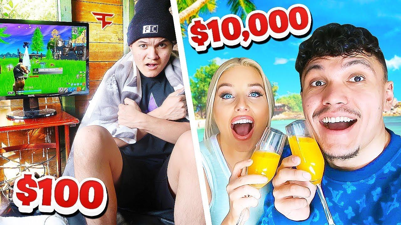 $ 10.000 VS $ 100 HOLIDAY - FaZe Vs FaZe + video
