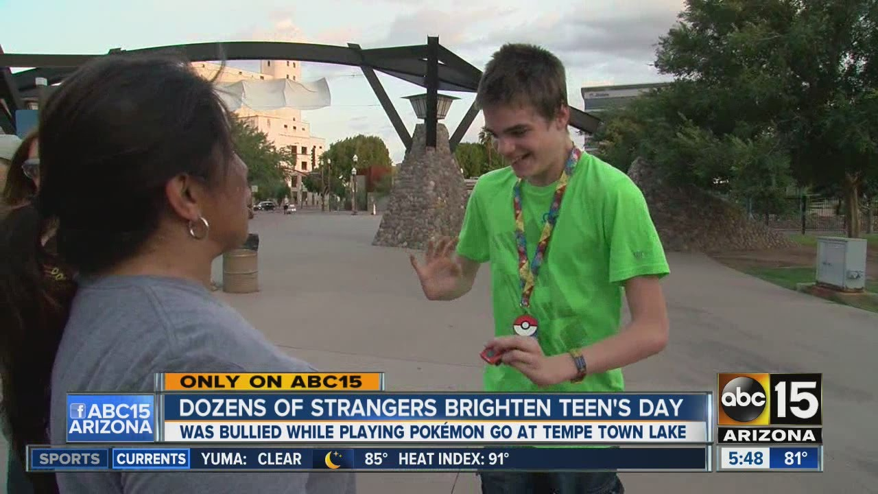 Strangers gather to brighten Pokemon Go player's day after he was bullied