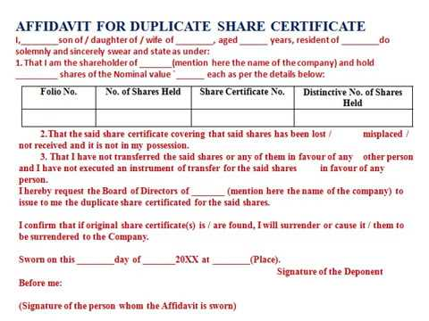 Affidavit for duplicate share certificate youtube affidavit for duplicate share certificate yadclub Image collections