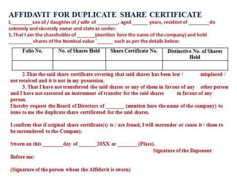 AFFIDAVIT FOR DUPLICATE SHARE CERTIFICATE