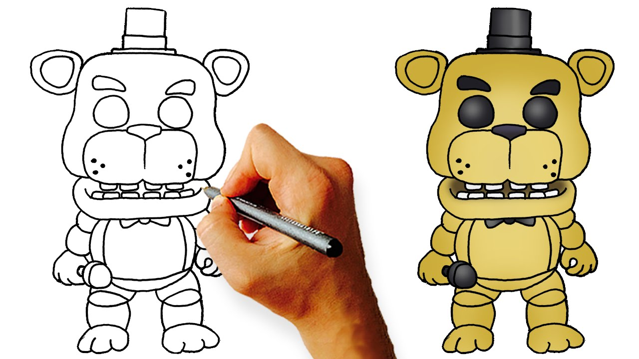 How to draw fnaf freddy steps - How To Draw Chibi Golden Freddy Fnaf Step By Step Art Lesson