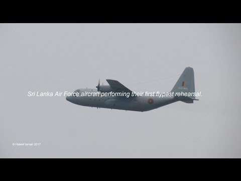 Sri Lanka Air Force aircraft performing their first flypast rehearsal